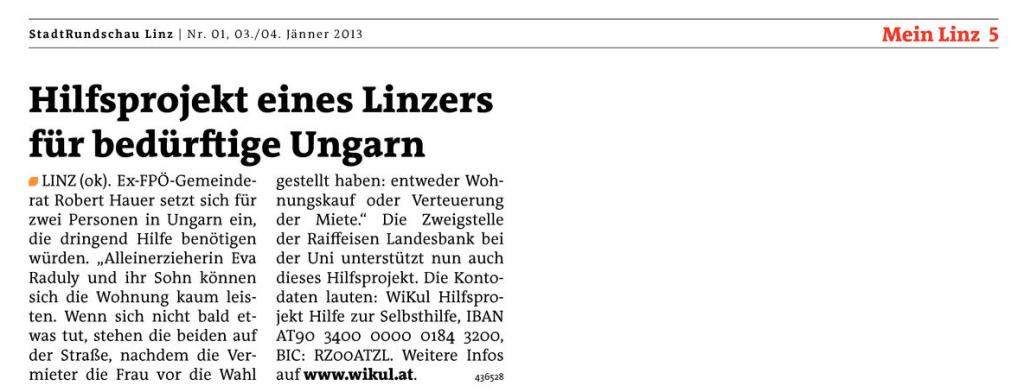 2013.01.03 - Rundschau - Hilfsprojekt eines Linzers für bedürftige Ungarn