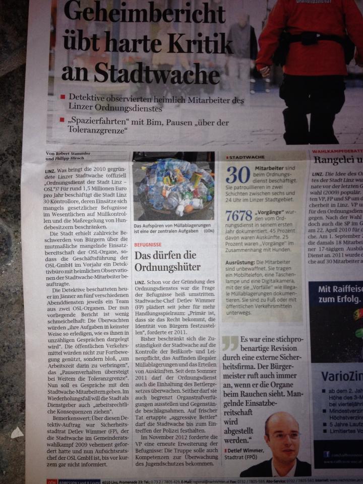 2013.02.15 - OÖN - Geheimbericht übt harte Kritik an Stadtwache