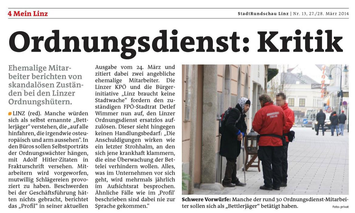 2014.03.27 - Rundschau Linz - Ordnungsdienst Kritik