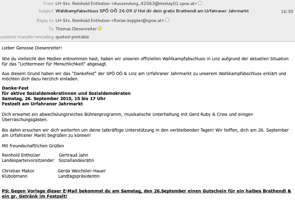 Email SPOÖ Wahl 2015 Brathendl