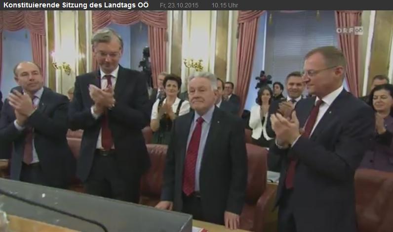Screenshot ORF Übertragung Angelobung Landesregierung OÖ 2015