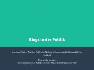 Vortrag JKU Blogs in der Politik 2016 Thomas Diesenreiter 01